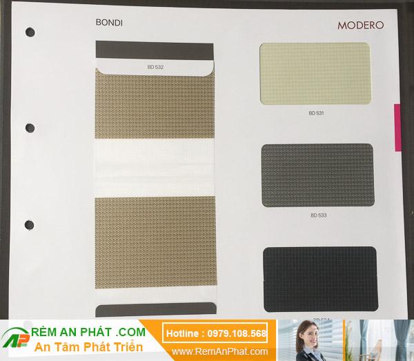 Các lựa chọn màu sắc cho rèm cầu vồng Hàn Quốc Modero mã Bondi