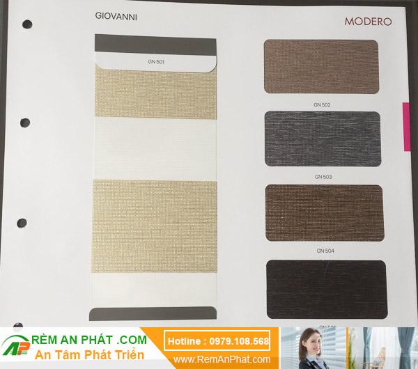 Các lựa chọn màu sắc cho rèm cầu vồng Hàn Quốc Modero mã Giovanni