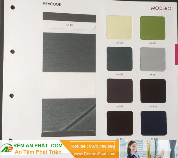 Các lựa chọn màu sắc cho rèm cầu vồng Hàn Quốc Modero mã Peacook